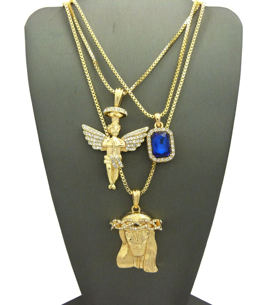 Iced Out Diamond Cz Halo Angel Jesus Blue Onyx Pendant Chain