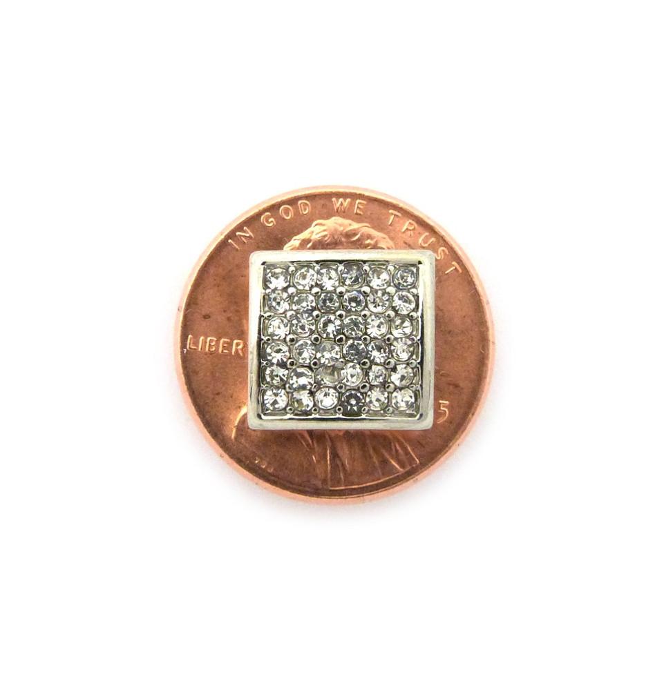 "Mens Bling Square Cut Diamond Cz Magnetized Earrings 0.5"" Silver"