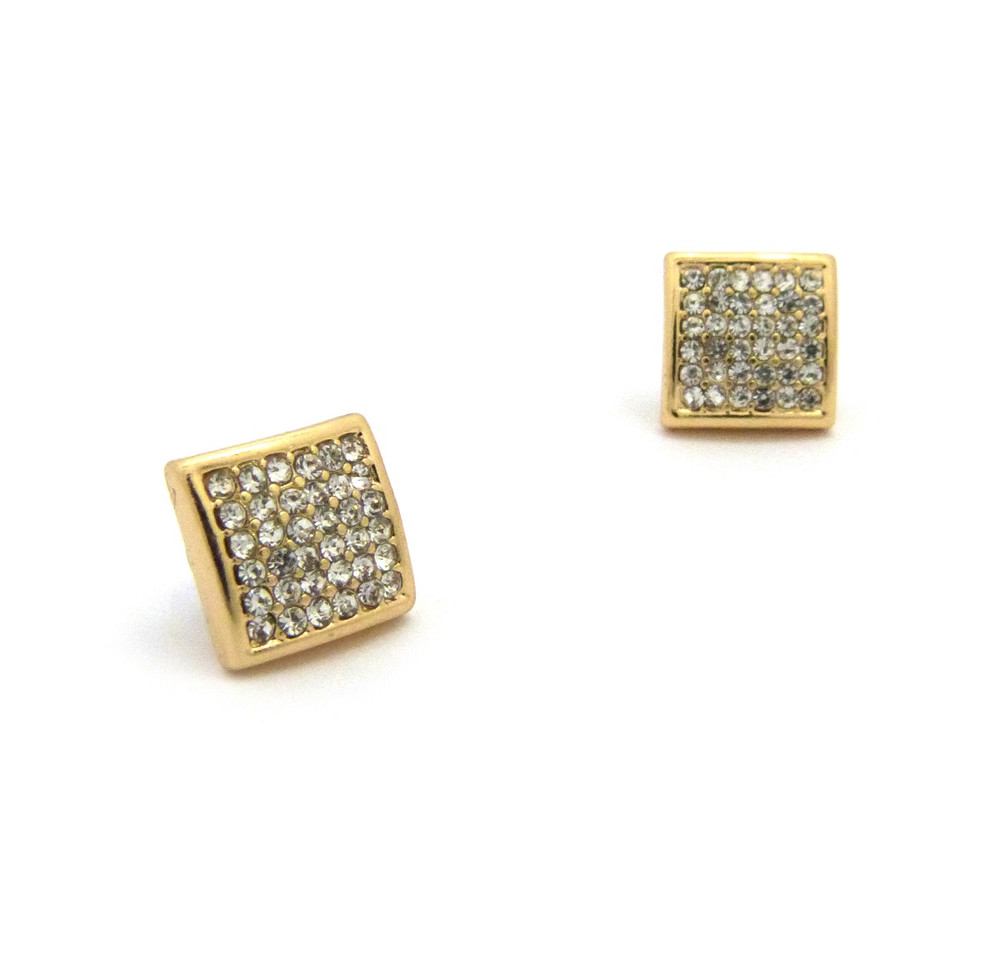 "Mens Bling Square Cut Diamond Cz Magnetized Earrings 0.5"" Gold"