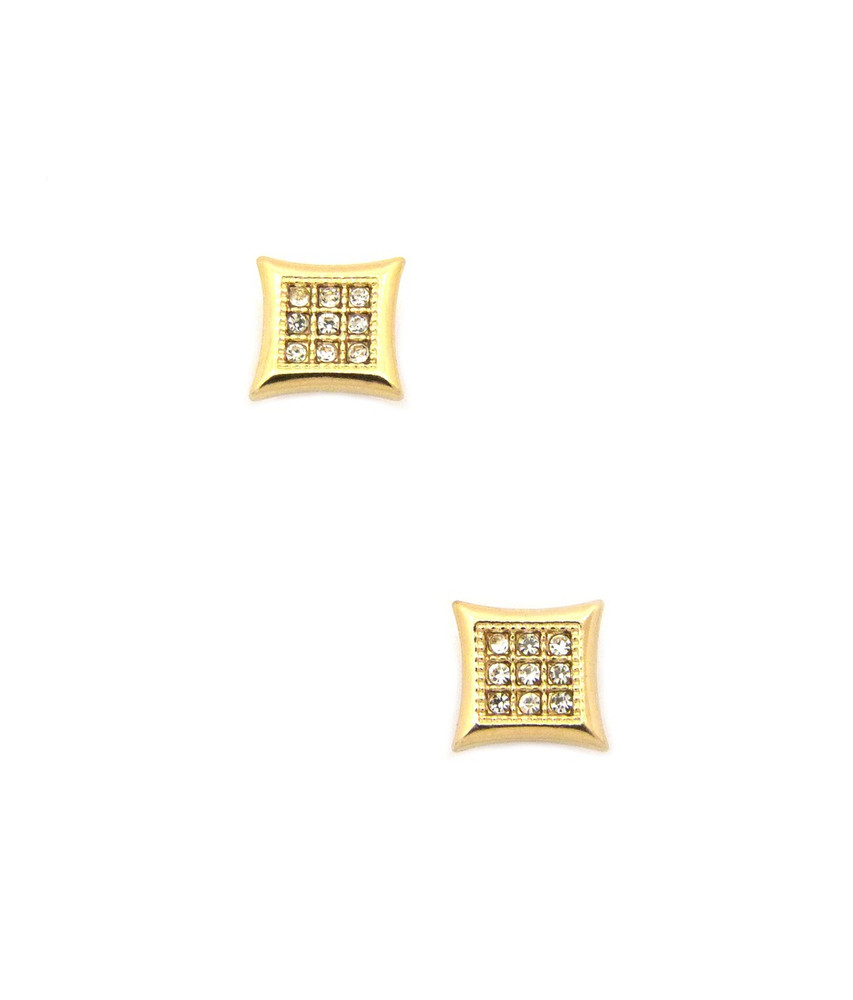 Mens Iced Out Kite 9 Cut Diamond Cz Magnetized Earrings Gold