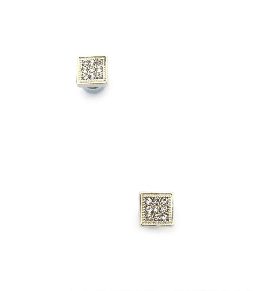 Mens Bling Bordered Diamond Cz Magnetized Earrings Silver