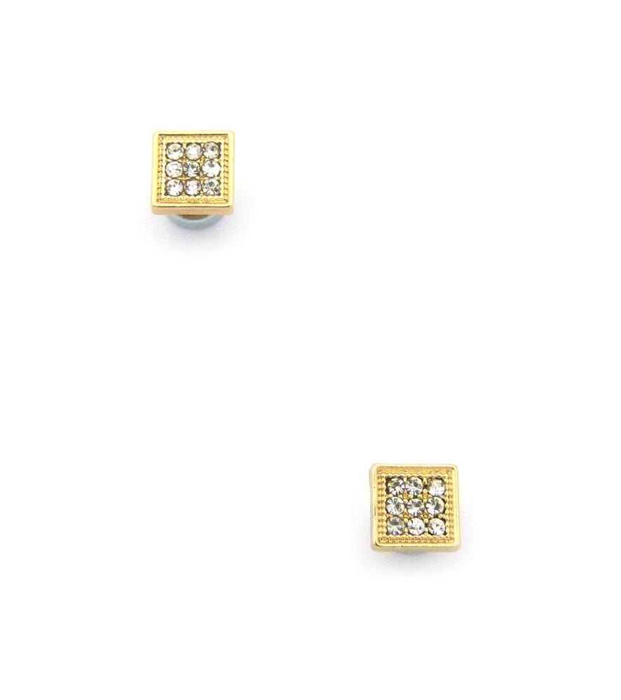 Mens Bling Bordered Diamond Cz Magnetized Earrings Gold
