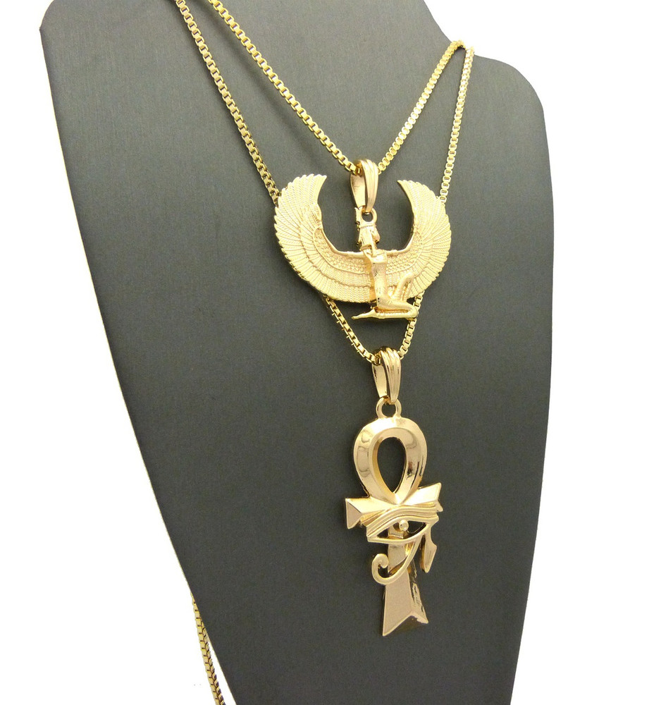 Ancient Egyptian Maat Ankh Eye Of Ra Cross Necklace