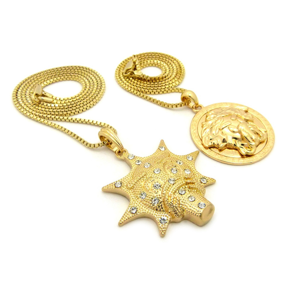Glo Gang Style Hip Hop Micro Pendant Chain Gold