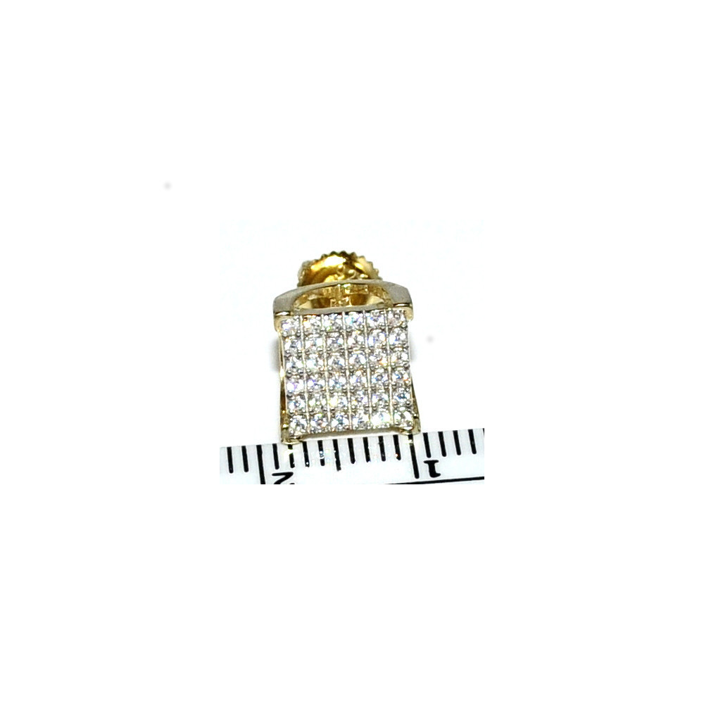 Mens 7mm Yellow Silver Cubic Zircons Pave Set Earrings