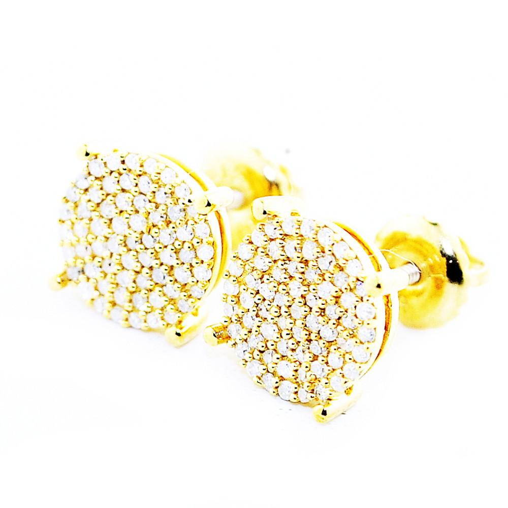 Mens Gold over Silver 0.25CTTW Diamond Bling 8.12mm Earrings