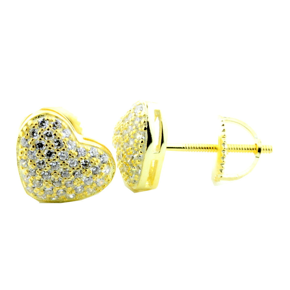 925 Yellow Silver Heart Diamond Cz Micro Pave 7mm Earrings