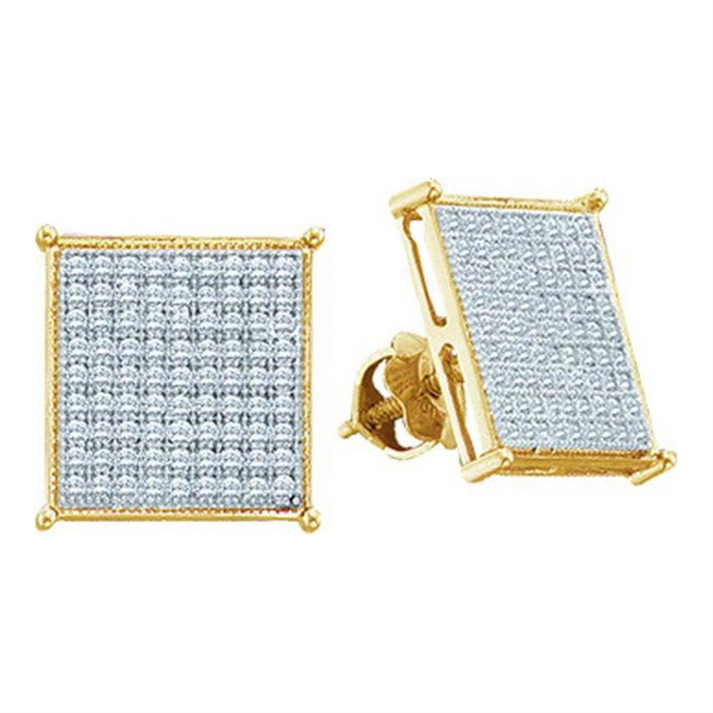 Mens Iced Out Yellow Gold Diamond 10K Earrings