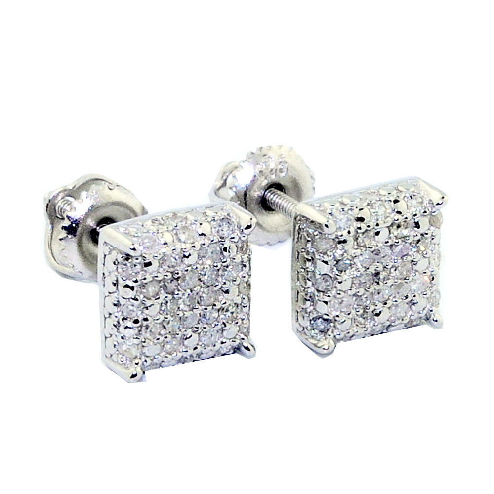 7mm Cube 1/4 cttw Sterling Silver Diamond Earrings Fashion Studs