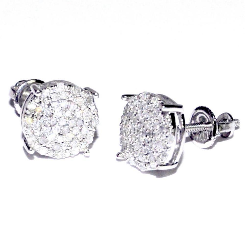 0.25cttw Diamond Round Earrings 10K White Gold Earrings