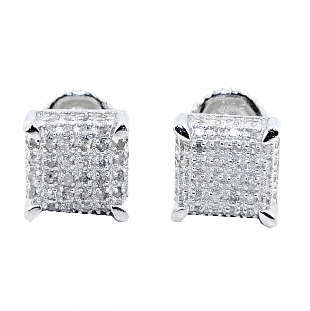 Iced Out 0.3cttw Diamond Earrings Cube Dice 7.5mm