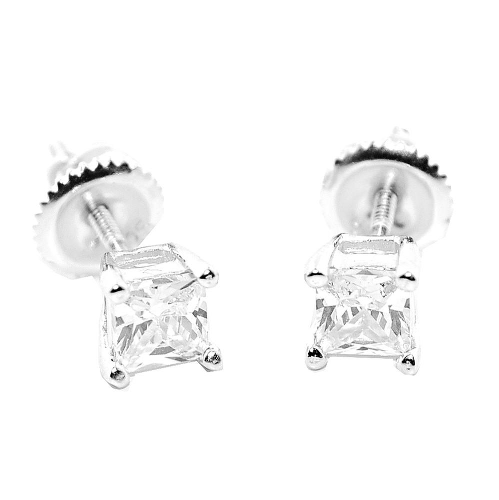 5.5MM Simulated Diamond Stud Sterling Silver Bling Princess Cut Earrings