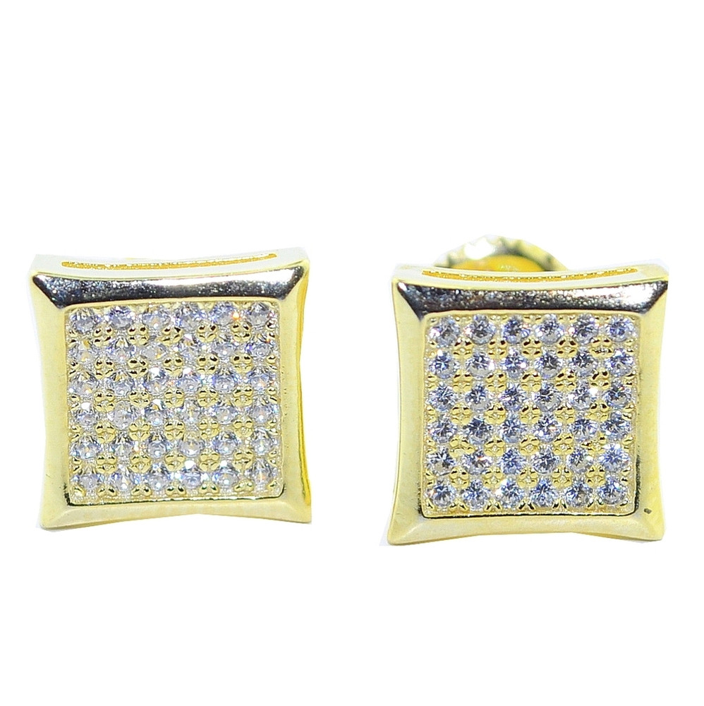 10MM Simulated Diamond Iced Out 14k Gold Over .925 Silver Earrings