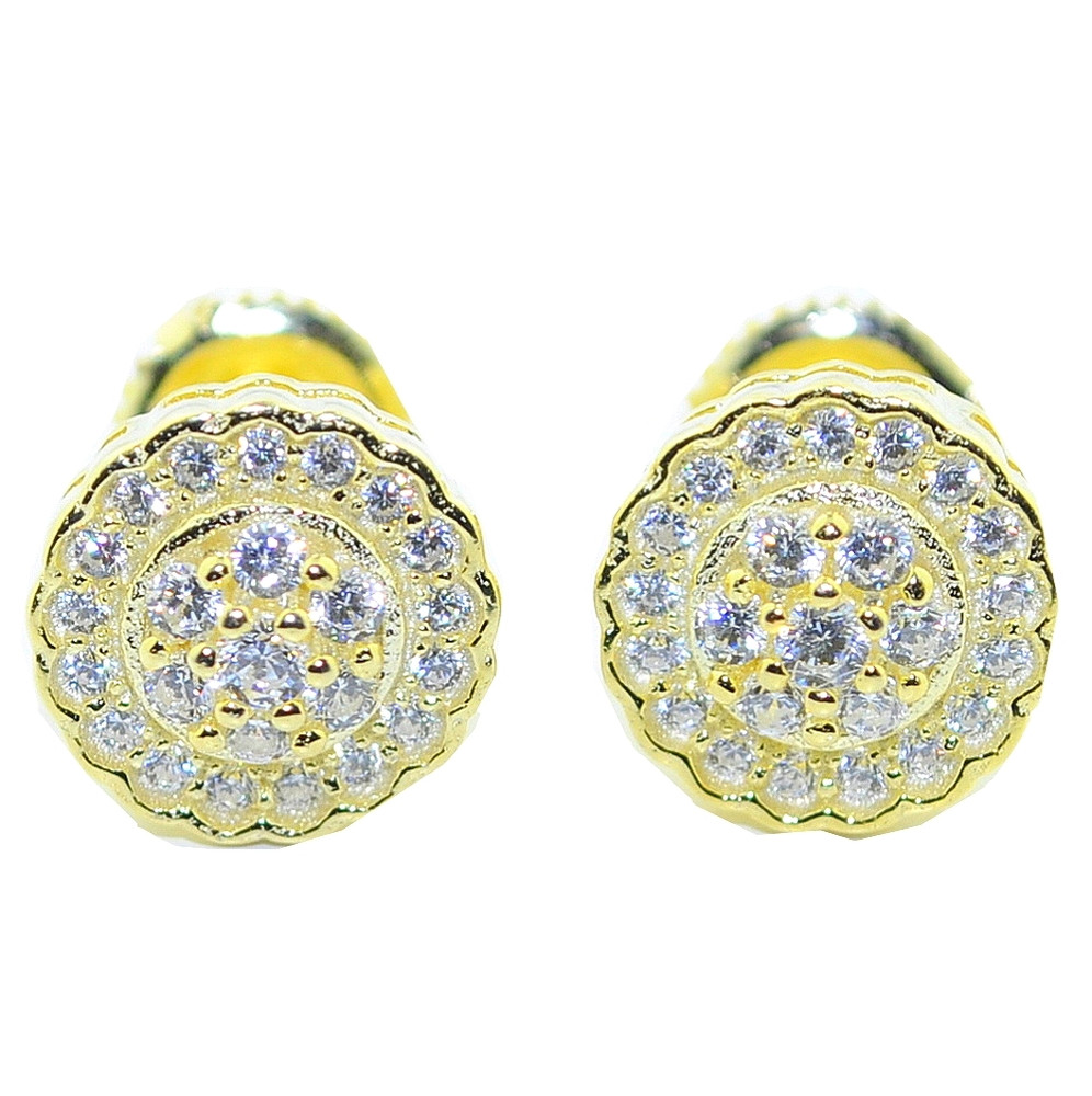 9MM Wide Simulated Diamond Hip Hop Earrings Silver Gold Tone