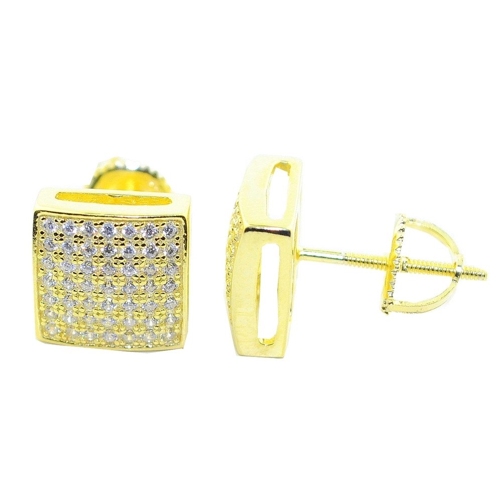 9.5MM Bling CZ Earrings Yellow Gold Tone Silver Pave Set