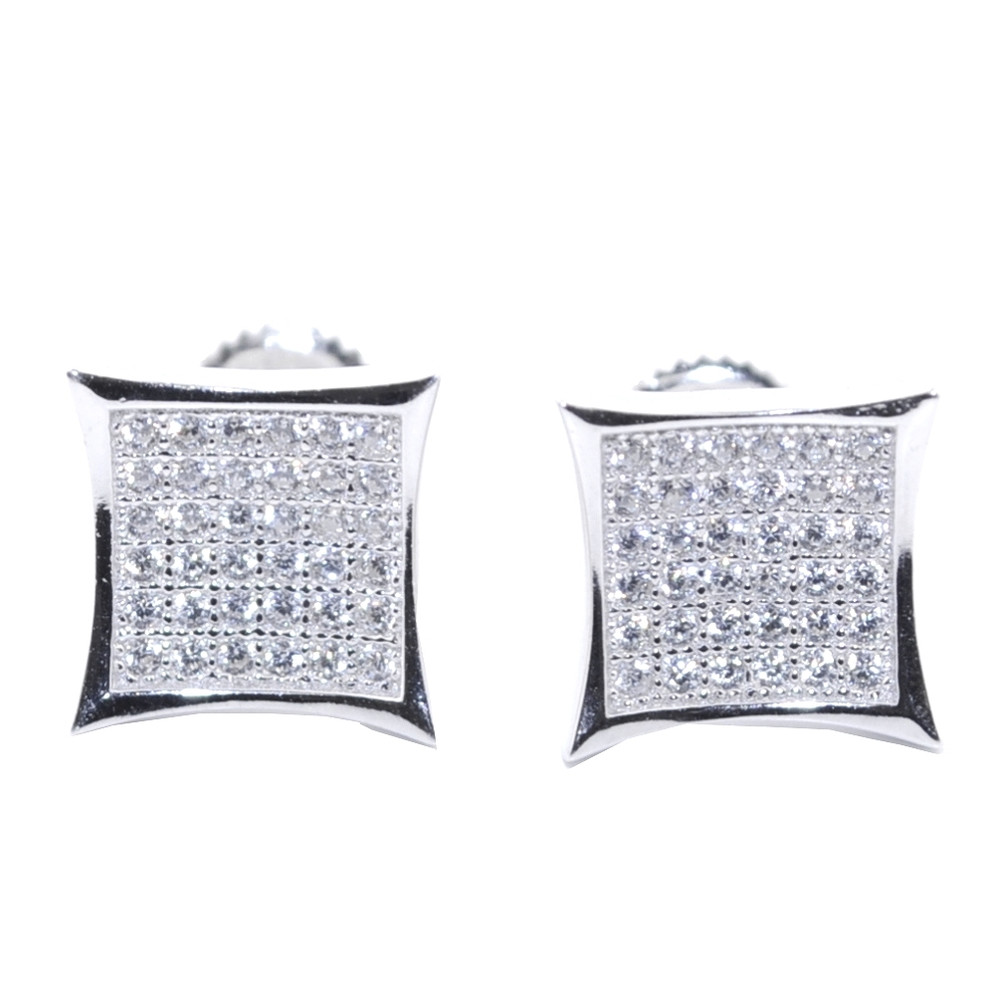10MM Simulated Diamond Stone Iced Out Stud Earrings