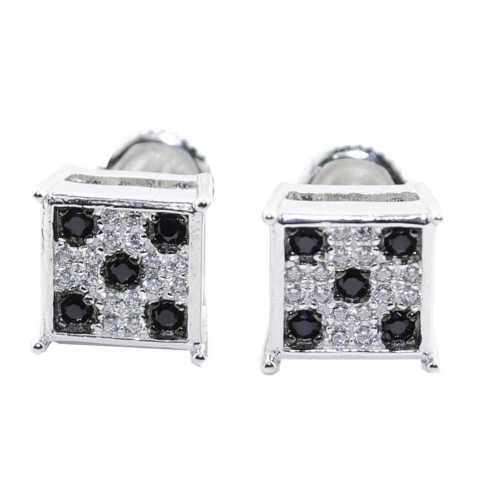 9MM Black White Simulated Diamond Hip Hop 925 Silver Earrings