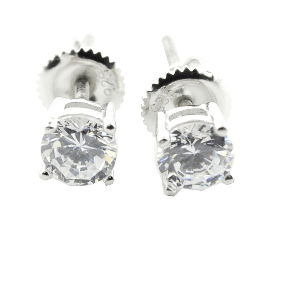 5.5mm Simulated Diamond Round Cut 925 Sterling Silver Bling Earrings