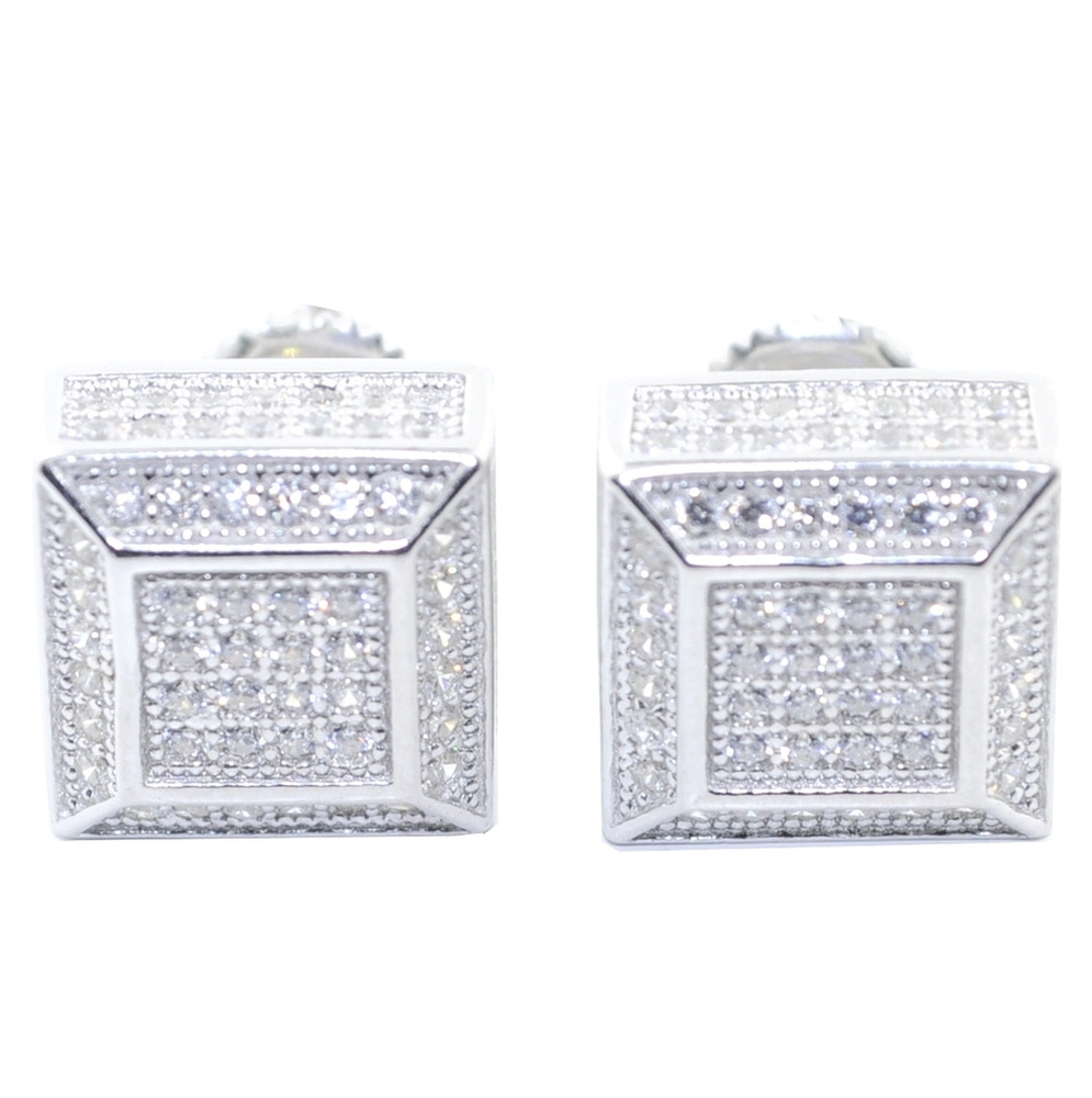 10MM Simulated Diamond .925 Silver Cube Shaped Iced Out Earrings