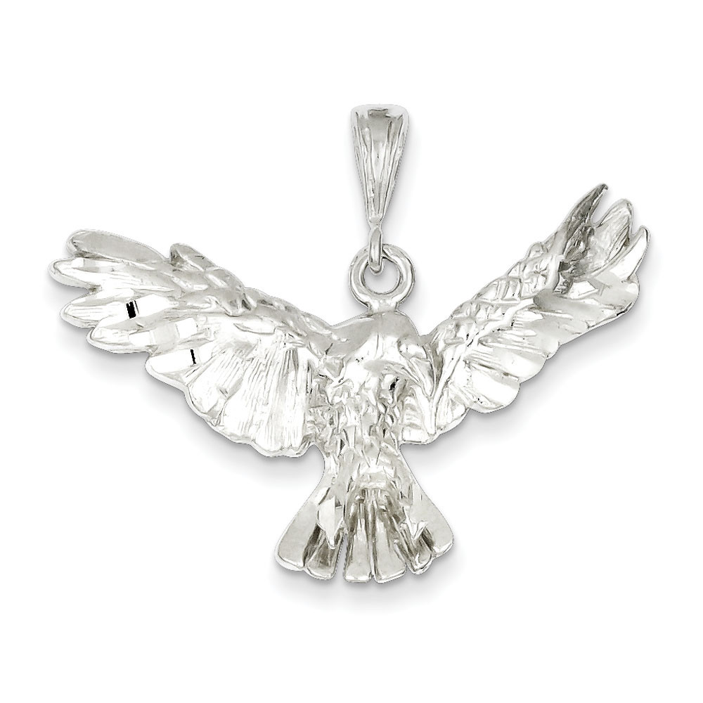 Bling 925 Sterling Silver Diamond-Cut Eagle Pendant