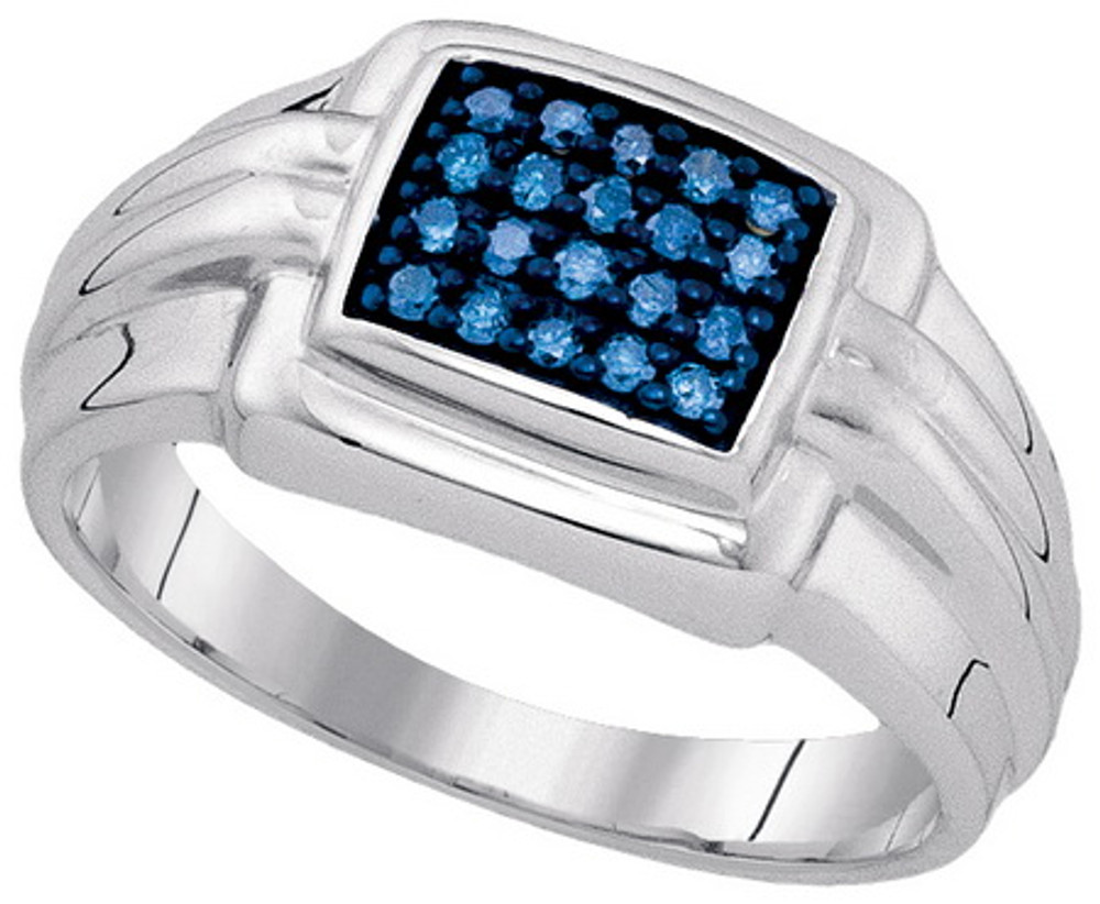 Mens Sterling Silver 0.25Ctw Ice Blue Diamond Hip Hop Ring