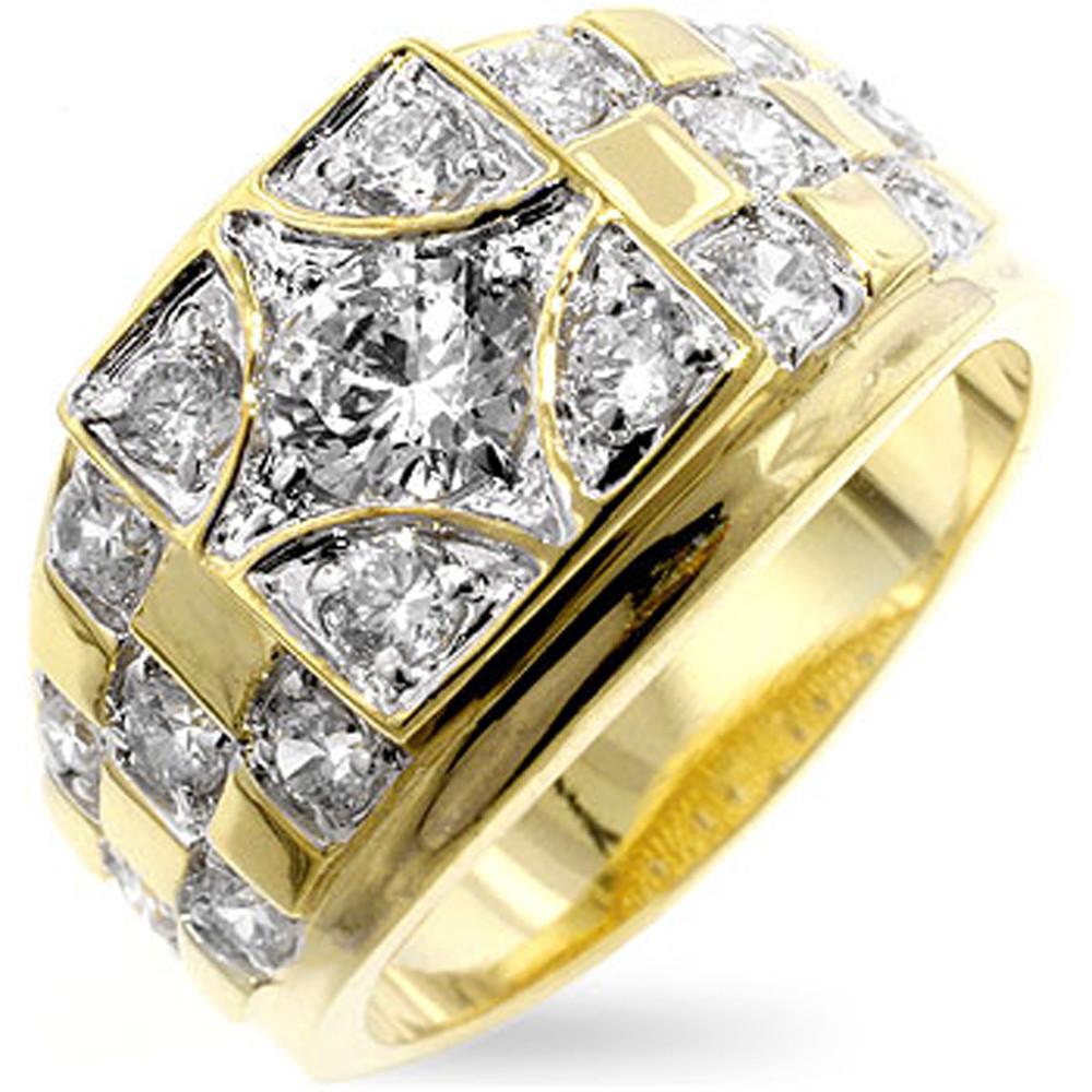 Mens Center Stage Hip Hop Diamond Cz Bling Ring