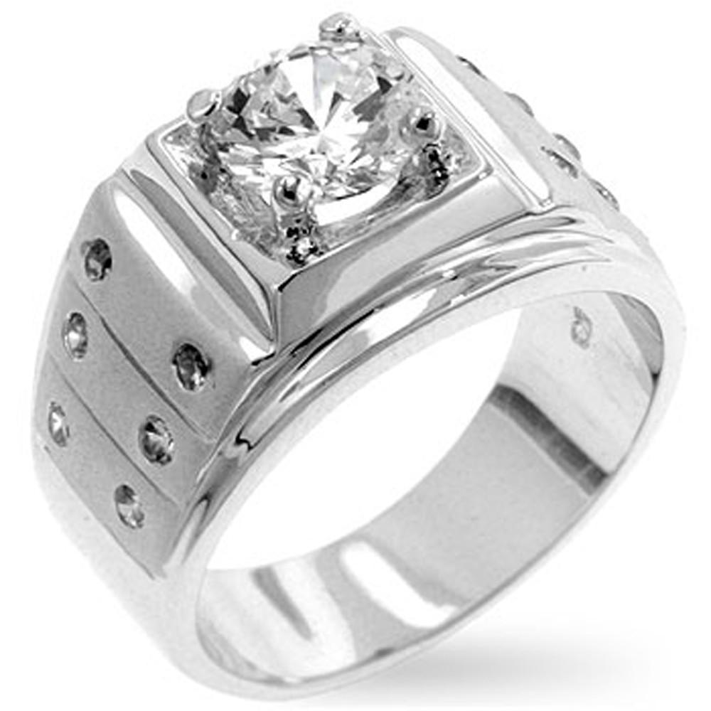 Mens Hip Hop Fearless Man Simulated Diamond Bling Ring