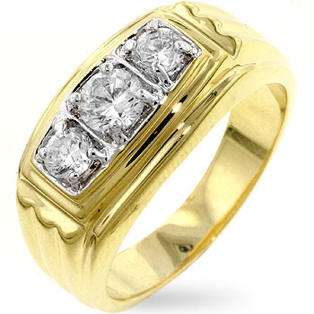 Mens 18k Gold Hip Hop Bling Golden Triplet Diamond Cz Ring