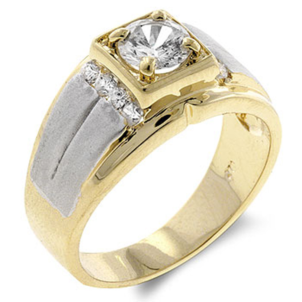 18k Gold Two-Tone Men's Diamond Cz Iced Out Ring