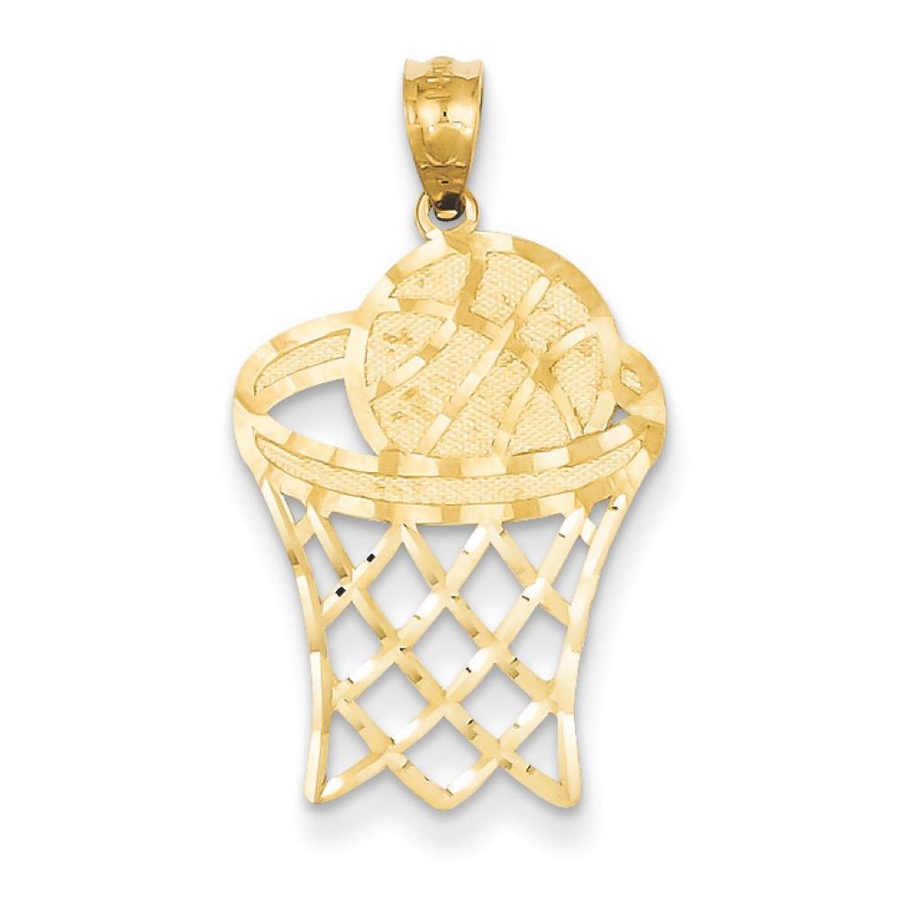 14k Yellow Gold Diamond-Cut Basketball Hoop Net Bling Pendant