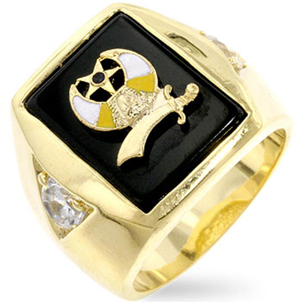 Mens Diamond Cz Bling Bling Shriners 18k Gold Ring