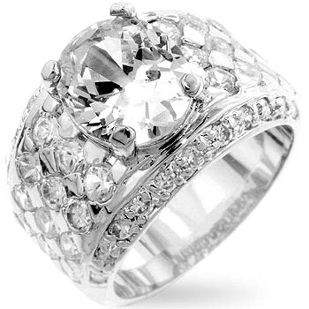 Mens Hip Hop Bling Boss Man Silver Oval Diamond Cz Ring