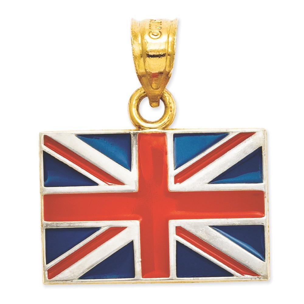14k Yellow Gold Red White Blue Enamel United Kingdom Flag Bling Jewelz Pendant