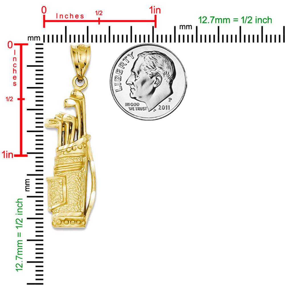 14k Yellow Gold Golf Bag Pendant