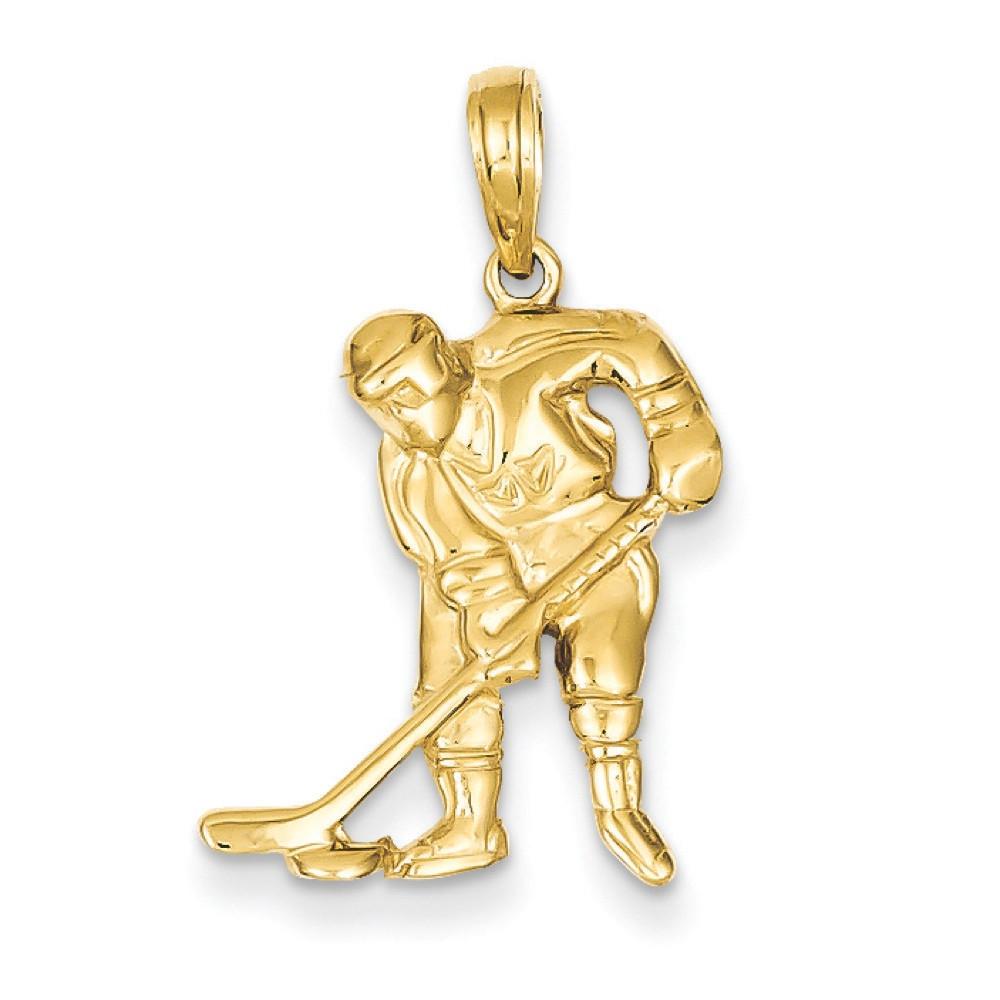 14k Yellow Gold Polished Hockey Player Pendant