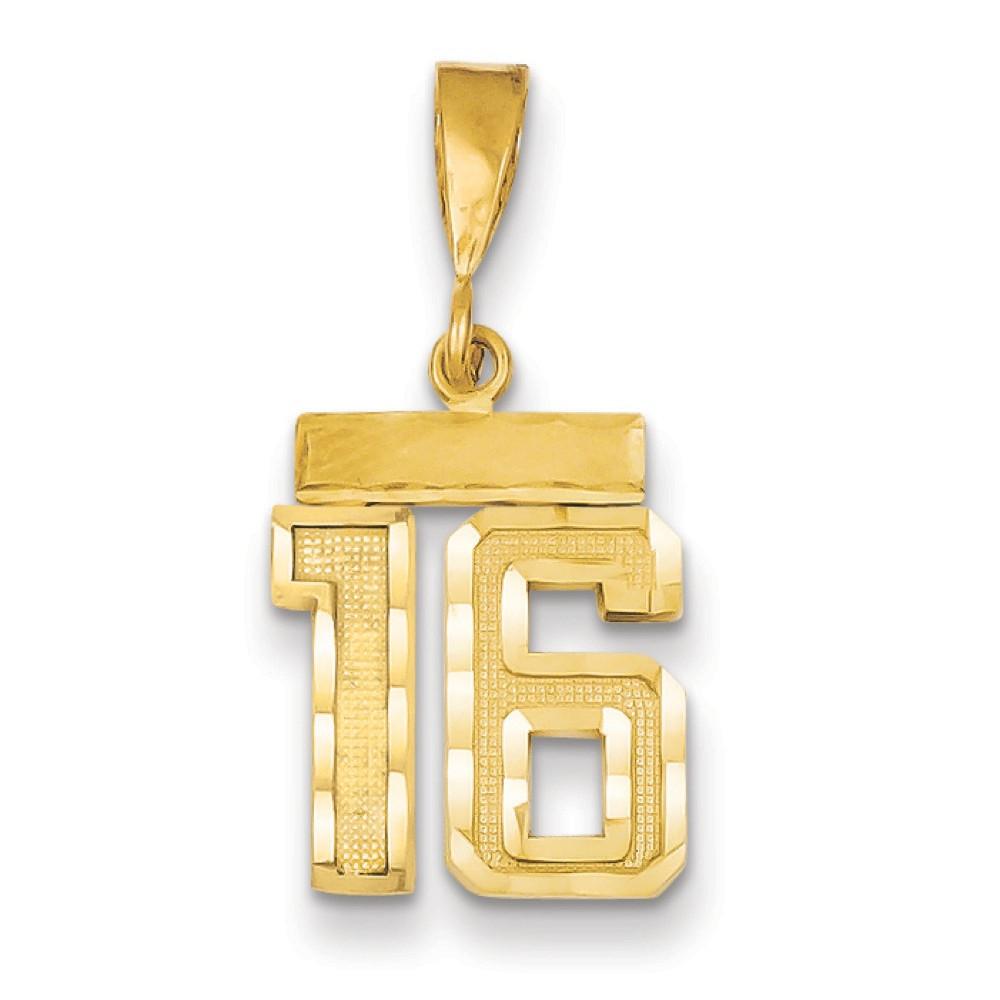 14k Yellow Gold Small Diamond-Cut Number 16 Pendant