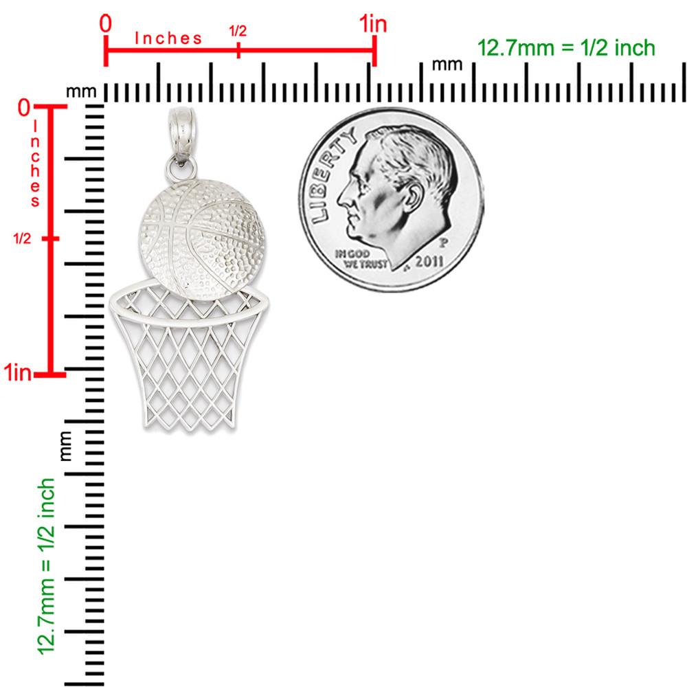 14k White Gold Basketball Hoop Pendant