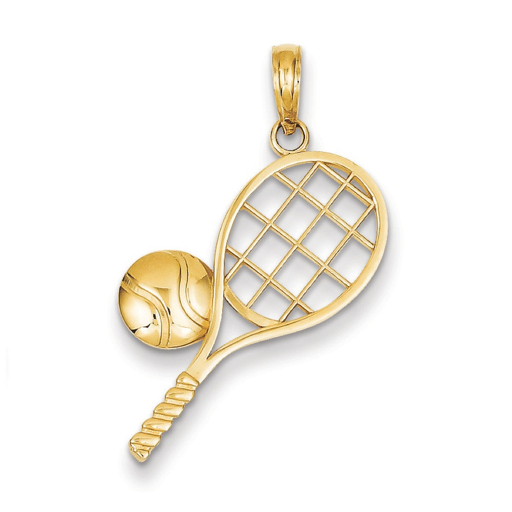 14k Yellow Gold Tennis Racquet and Ball Pendant