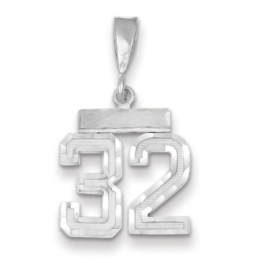 14k White Gold Small Diamond-Cut Number 32 Pendant