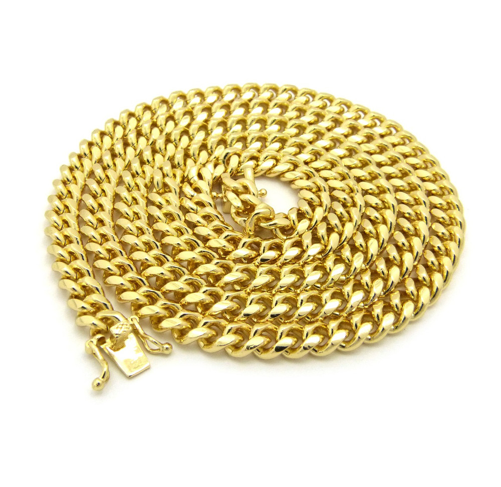 Mens 6mm Box Lock Miami Cuban Link Chain Necklace Gold