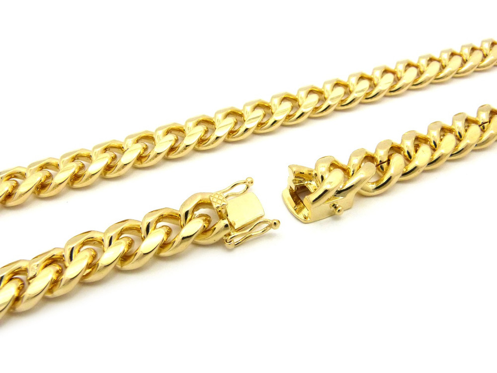 Mens 10mm Box Lock Miami Cuban Link Chain Necklace Gold