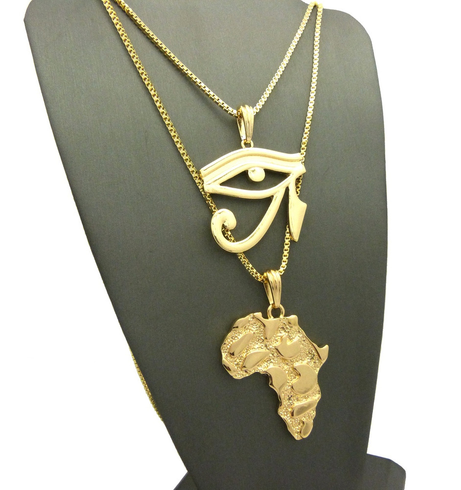 Eye of Ra Ancient African Continent Pendant Set