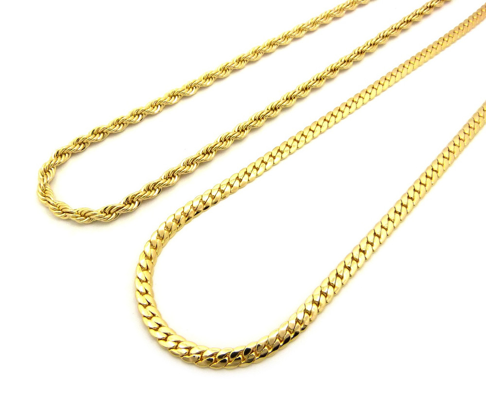 "14k Gold Hip Hop 6mm 30"" Rope Flat Miami Cuban Link Chain"