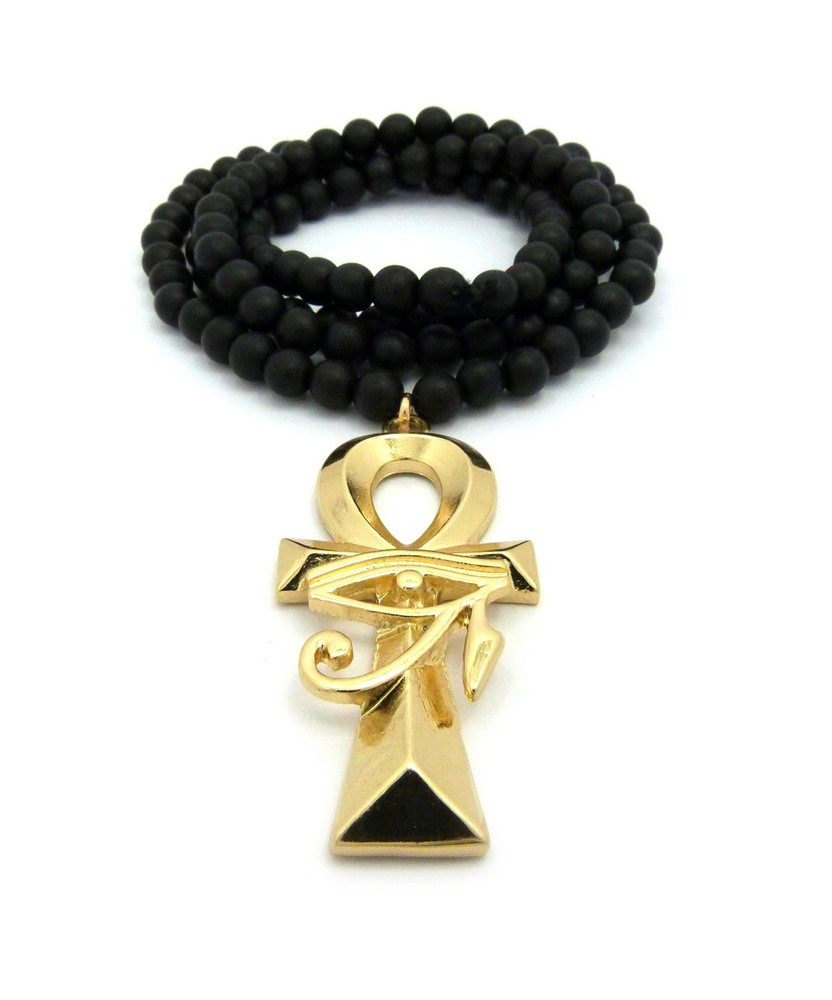 14k Gold Ankh Cross Eye of Ra Egypt Pendant