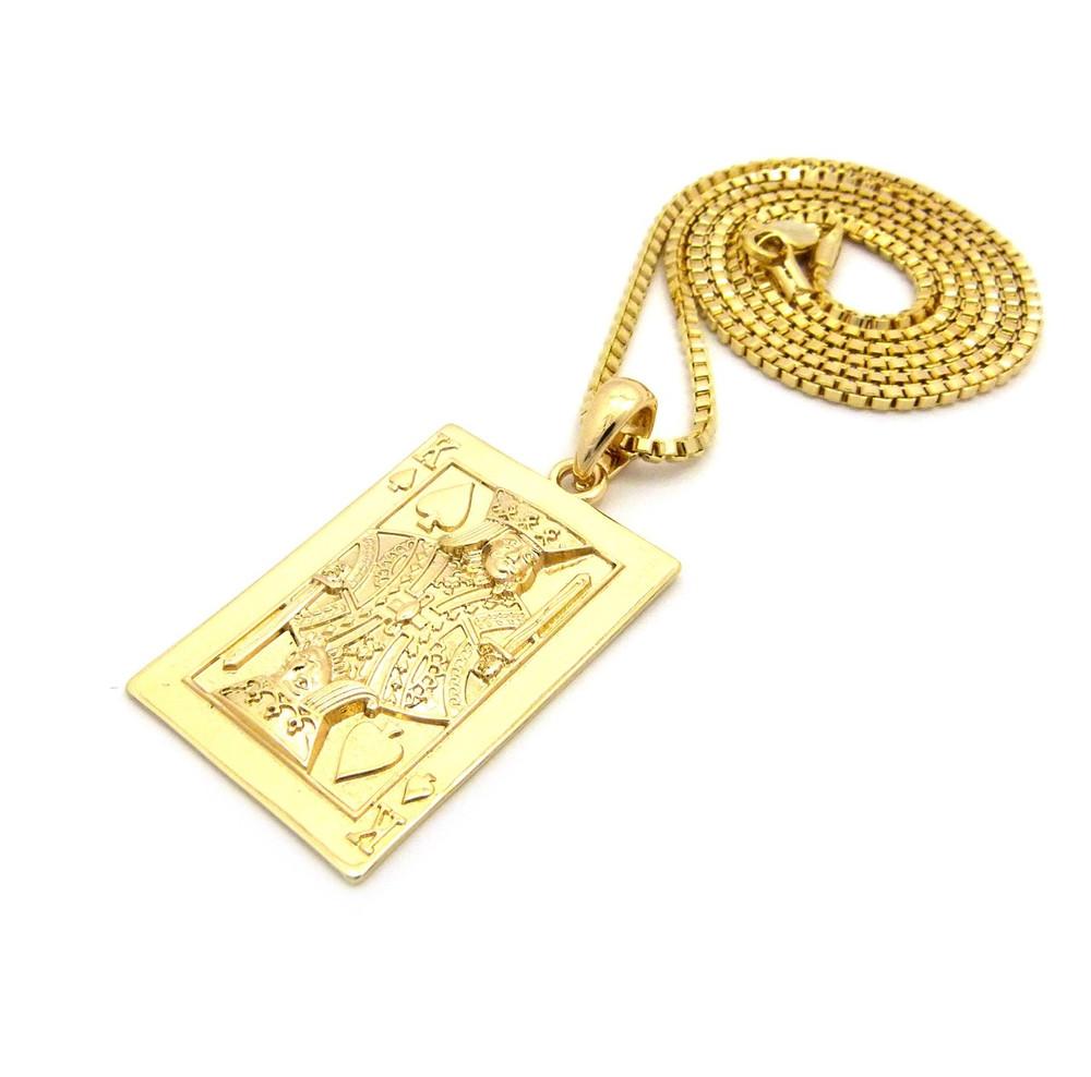King of Spades Hip Hop Bling 14k Gold Pendant Chain