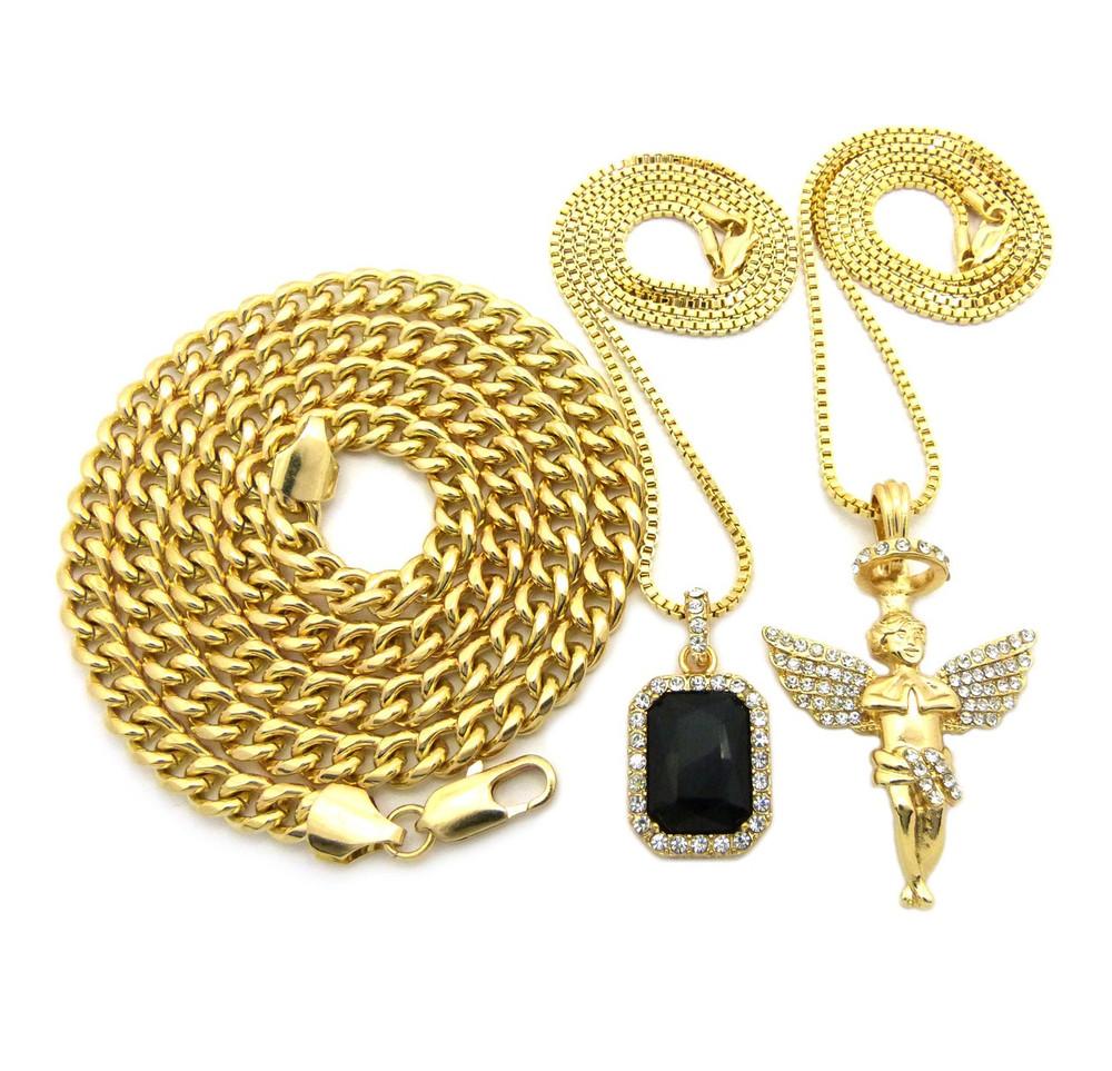 Halo Angel Gemstone Hop Hop Cuban Chain Pendant Black