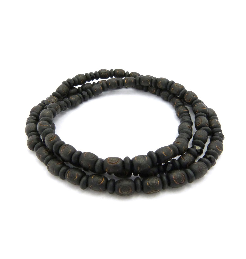 "8mm 30"" Wooden Bead & Black Glass Bead Hip Hop Chain Necklace"