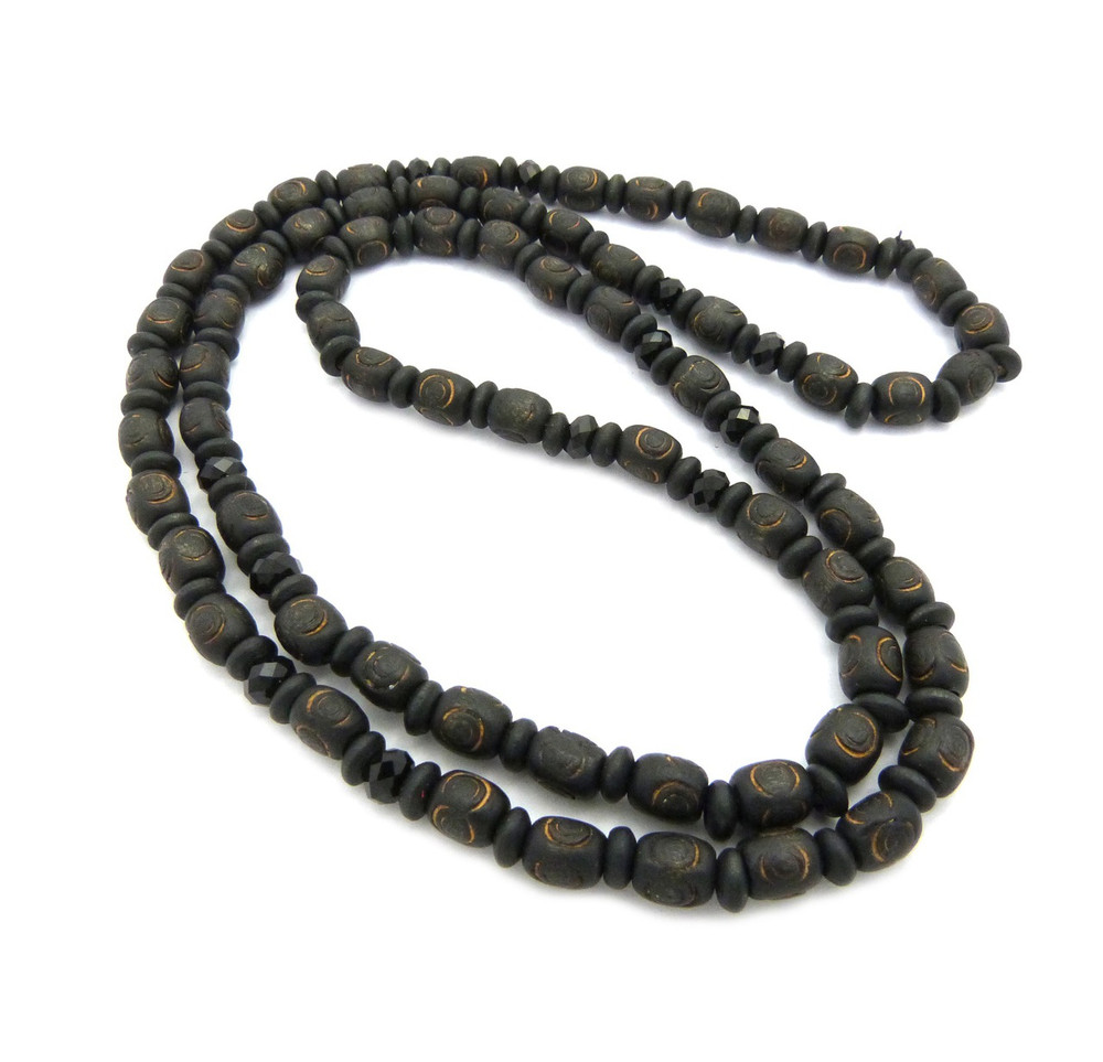 """8mm 30"""" Wooden Bead & Black Glass Bead Hip Hop Chain Necklace"""