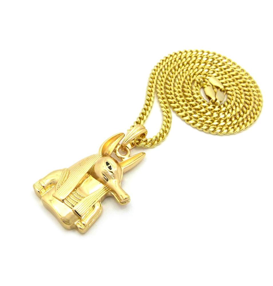 14k Gold Ancient Egyptian God Anpu Anubis Pendant Chain