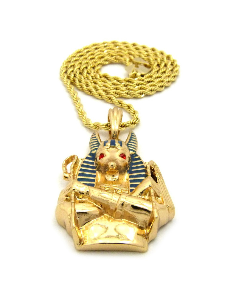 14k Gold Egyptian God Anubis Enameled Cz Pendant Rope Chain